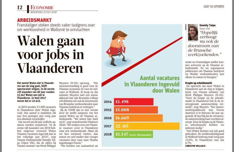 Emmily Talpe: Walen gaan voor jobs in Vlaanderen
