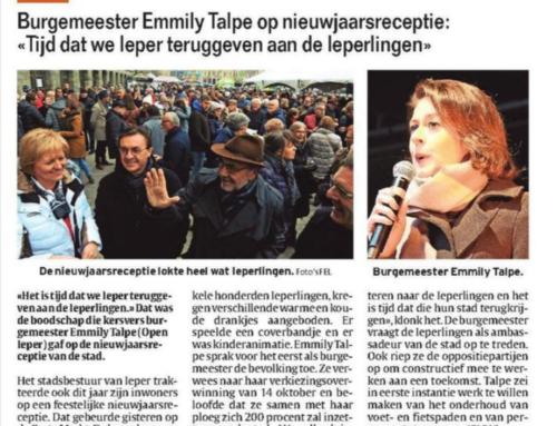 """Burgemeester Emmily Talpe op nieuwjaarsreceptie: """"Tijd dat we Ieper teruggeven aan de Ieperlingen"""""""